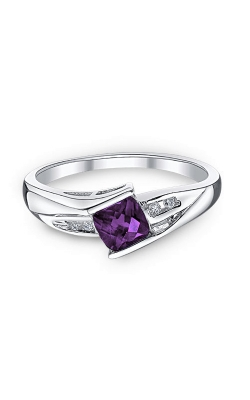 Amethyst and Diamond Ring in Sterling Silver product image