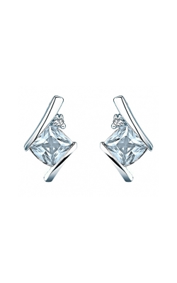 Created Aquamarine And Diamond Earrings In Sterling Silver product image
