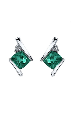 Created Emerald And Diamond Earrings In Sterling Silver product image