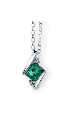 Created Emerald And Diamond Pendant In Sterling Silver product image