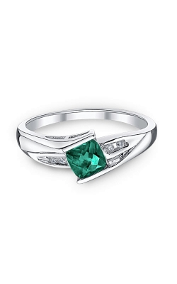 Created Emerald And Diamond Ring In Sterling Silver product image
