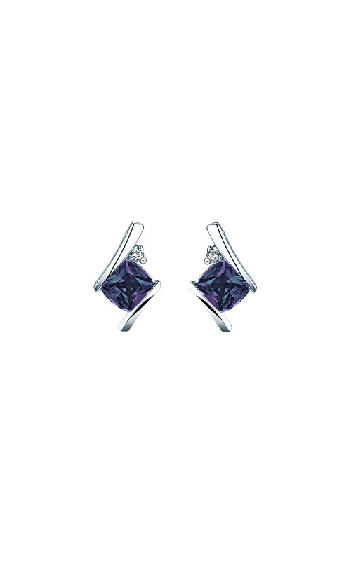 Created Alexandrite and Diamond Earrings in Sterling Silver product image