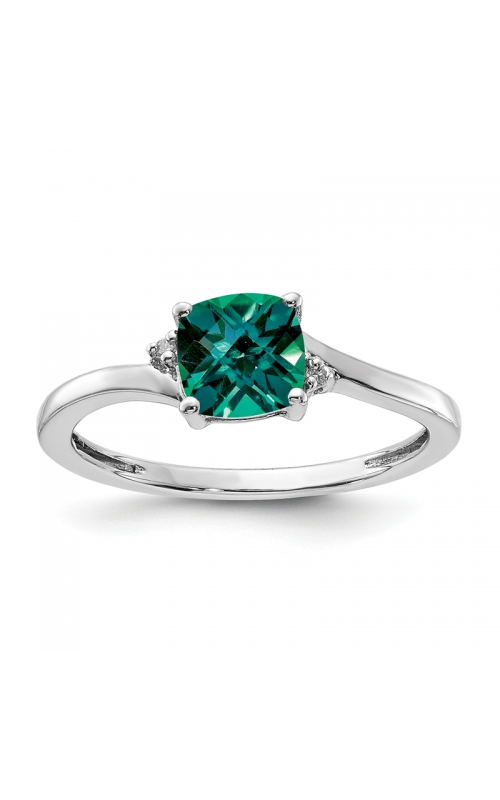 Created Alexandrite and Diamond Ring in Sterling Silver product image