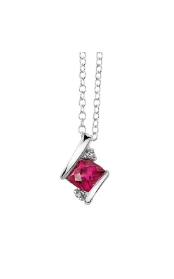 Created Ruby And Diamond Pendant In Sterling Silver product image