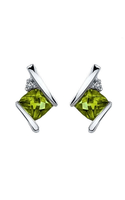 Peridot And Diamond Earrings In Sterling Silver product image