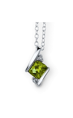 Peridot And Diamond Pendant In Sterling Silver product image