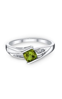 Peridot And Diamond Ring In Sterling Silver product image