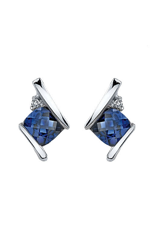 Created Sapphire and Diamond Earrings in Sterling Silver product image