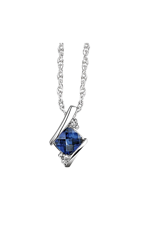 Created Sapphire and Diamond Pendant in Sterling Silver product image