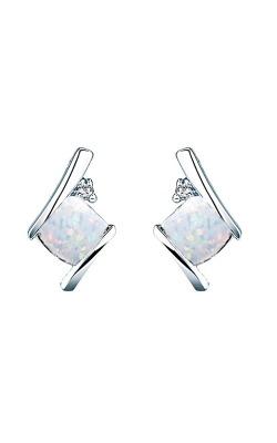 Created Opal And Diamond Earrings In Sterling Silver product image
