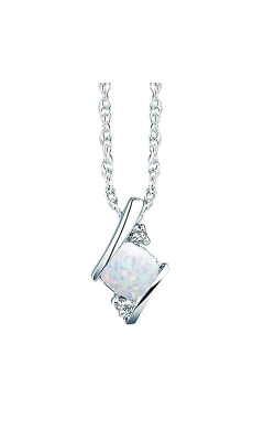 Created Opal And Diamond Pendant In Sterling Silver product image