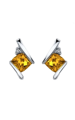 Citrine And Diamond Earrings In Sterling Silver product image