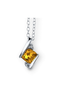 Citrine And Diamond Pendant In Sterling Silver product image
