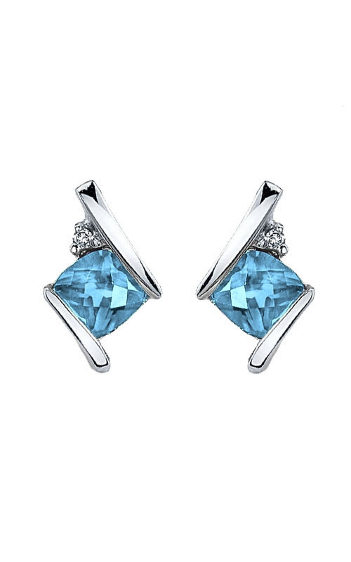 Blue Topaz and Diamond Earrings in Sterling Silver product image