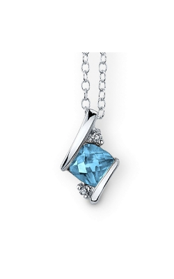 Blue Topaz And Diamond Pendant In Sterling Silver product image