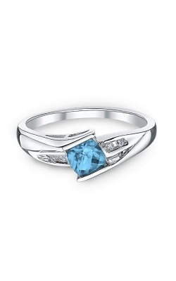 Blue Topaz and Diamond Ring in Sterling Silver product image