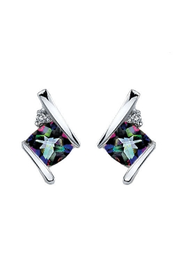 Mystic Fire And Diamond Earrings In Sterling Silver product image