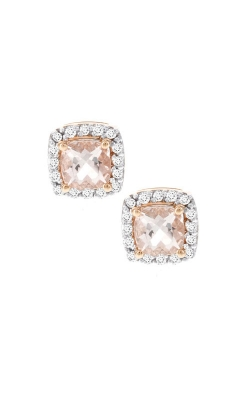 Cushion Morganite And Diamond Earrings In Rose Gold product image