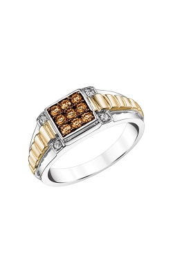 Men's Brown And White Diamond Ring In Two-Tone Gold, 1/2ctw product image