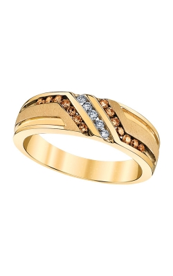 Men's Brown And White Diamond Ring In Yellow Gold, 3/8ctw product image
