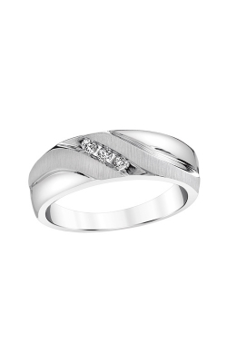 Men's Three Diamond Band In White Gold, 1/10ctw product image