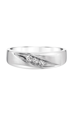 Men's Three Diamond Band In White Gold, 1/5ctw product image