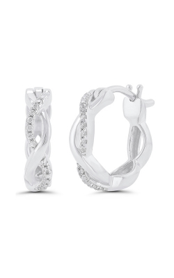 Diamond Twist Infinity Huggie Hoop Earrings in White Gold, 1/20ctw product image