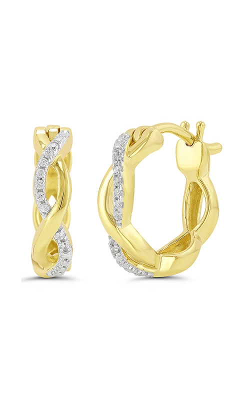 Diamond Twist Infinity Huggie Hoop Earrings in Yellow Gold, 1/20ctw product image
