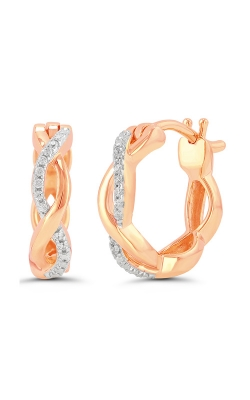 Diamond Twist Infinity Huggie Hoop Earrings in Rose Gold, 1/20ctw product image