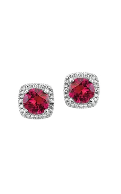 Created Ruby & Diamond Earrings In Sterling Silver product image