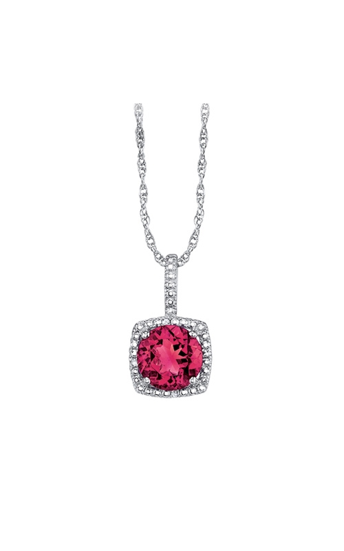Created Ruby & Diamond Pendant in Sterling Silver product image