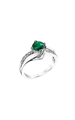 Created Emerald & Diamond Ring In Sterling Silver product image