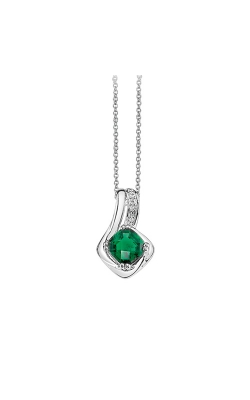 Created Emerald & Diamond Pendant In Sterling Silver product image