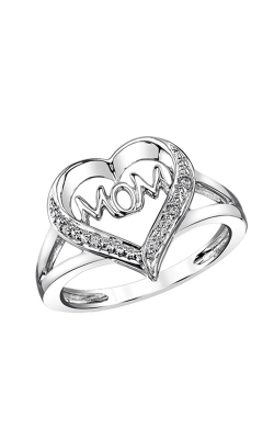 Mom Heart Diamond Ring In Sterling Silver product image