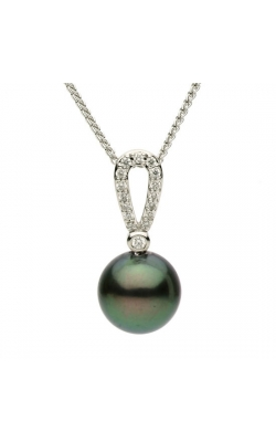 9-9.5mm Tahitian Pearl and Diamond Pendant in 14K White Gold product image