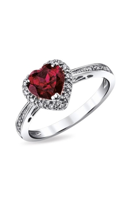 Heart-Shaped Created Ruby & Diamond Ring In Sterling Silver product image