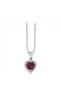 Heart-Shaped Created Ruby & Diamond Pendant In Sterling Silver product image