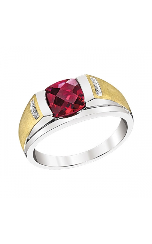 Ruby and Diamond Men's Ring in Sterling Silver and Yellow Gold product image