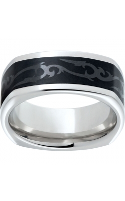 Men's Serinium Square Black Ceramic Scroll Band, 9mm product image
