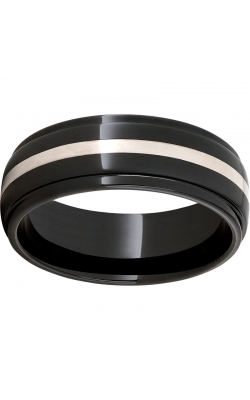 Men's Black Diamond Ceramic Band With Silver Inlay, 8mm product image