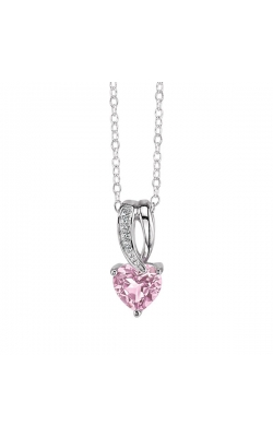Pink Cubic Zirconia Heart And Diamond Pendant In Sterling Silver product image