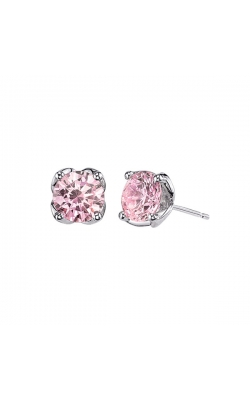 Pink Cubic Zirconia Stud Earrings In Sterling Silver product image