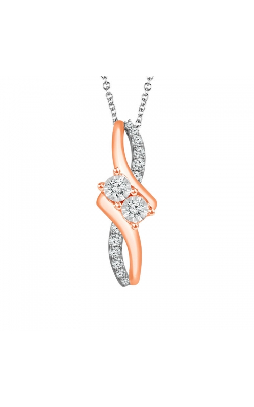 Twogether Two-Stone Diamond Pendant in Two-Tone Gold, 1/4ctw product image