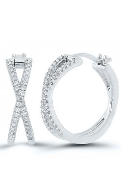 Diamond Hoop Crossover Earrings in Sterling Silver, 1/10ctw product image