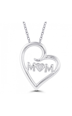 MOM Curling Heart Diamond Pendant in Sterling Silver product image