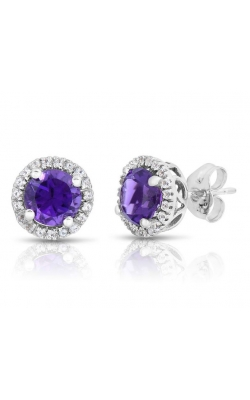 Amethyst And White Topaz Stud Earrings In White Gold product image