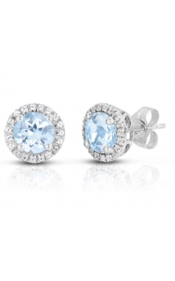 Aquamarine And White Topaz Stud Earrings In White Gold product image