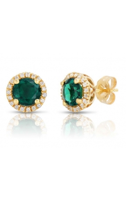 Created Emerald And White Topaz Stud Earrings In Yellow Gold product image
