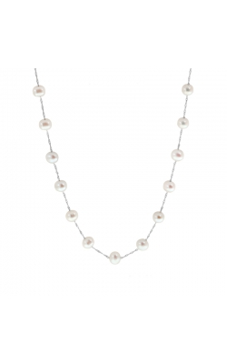 6 - 6.5mm Cultured Freshwater Pearl Station Necklace in 14K White Gold, 18 Inch product image