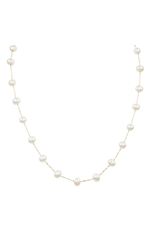 6 - 6.5mm Cultured Freshwater Pearl Station Necklace in 14K Yellow Gold, 18 product image
